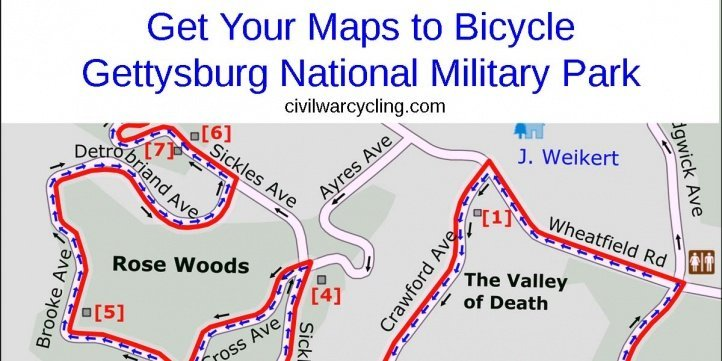 Maps for bicycling Gettysburg